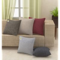 Yellow Weaves™ Decorative Jute Cushion Covers (16 X 16 Inches) Set of 5, Multi Colour