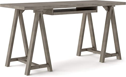Simpli Home Sawhorse SOLID WOOD Modern Industrial 60 inch Wide Home Office Desk, Writing Table, Workstation, Study Table Furniture in Farmhouse Grey