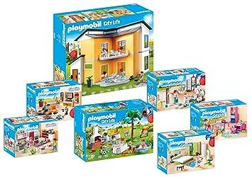 Playmobil 9266_9272 Modernes Wohnhaus Set 1 - 7er Set - 9266 + 9267 + 9268  + 9269 + 9270 + 9271 + 9272