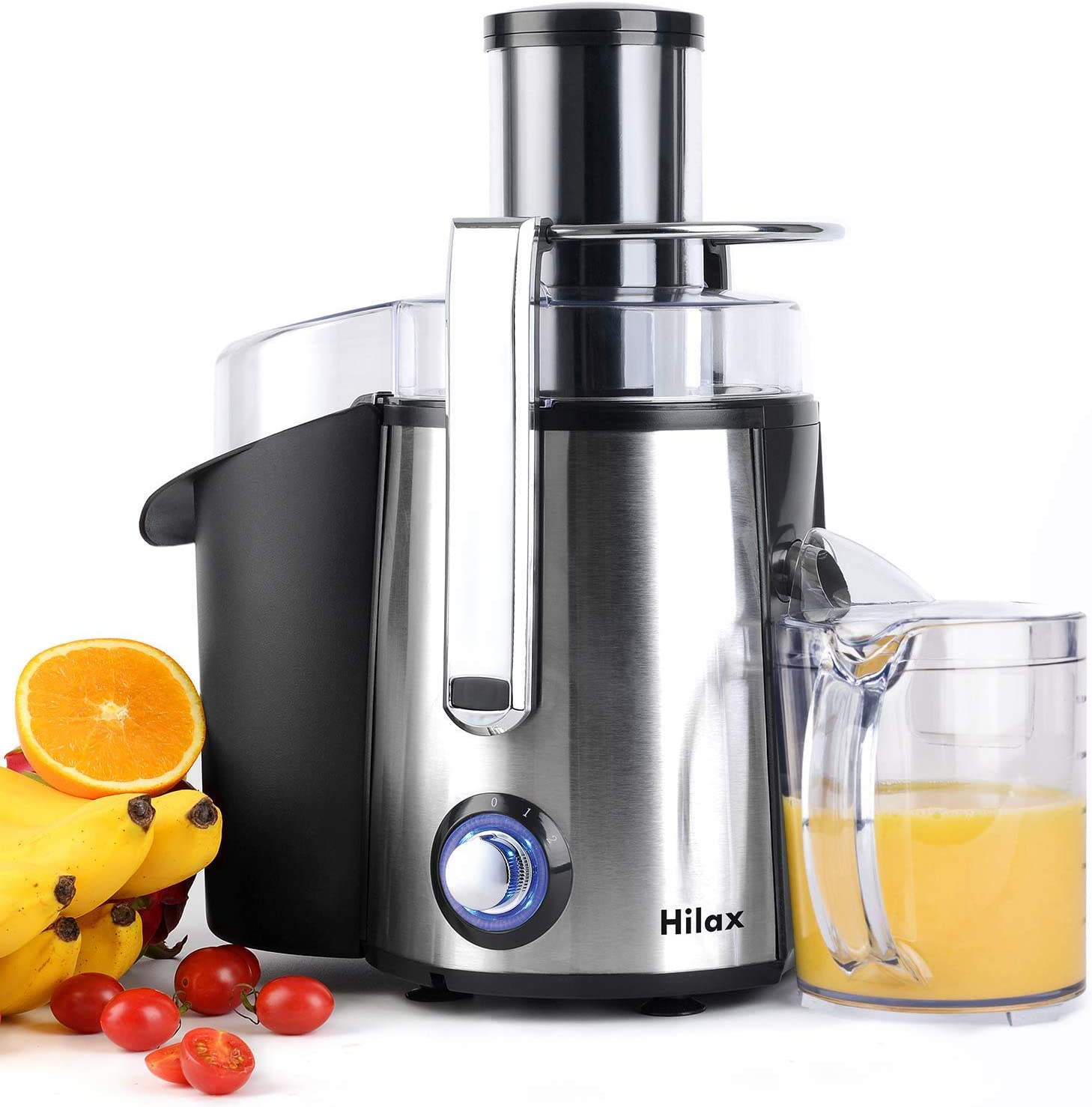 "Juicer Machines, Centrifugal Juicer Extractor, Electric Juicer Maker Fruit and Vegetable, Anti-slip juicers easy to clean, 3"" Feed Chute, Stainless Steel, BPA Free(Silver)"