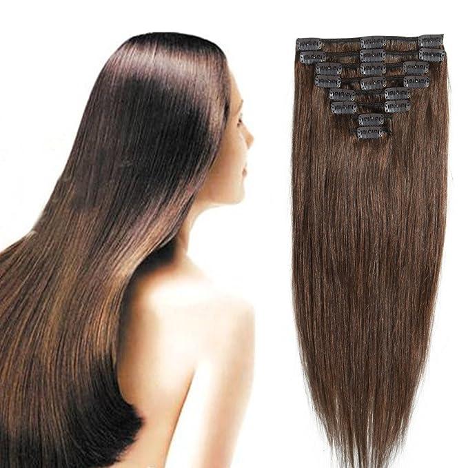 64 opinioni per 25cm/33cm/40cm/45cm/50cm/55cm Capelli Veri Extension Clip Remy Human Hair Testa