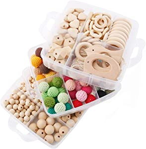 Promise Babe 3 Set Wooden Teether Crochet Beads DIY Accessories Nursing Jewelry Kit Nature Wooden Organic Animal Baby Teething Sensory Toys