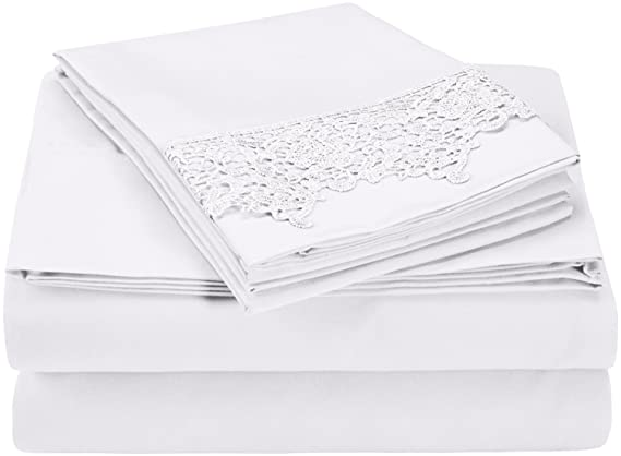 Amazon.com: Super Soft Light Weight, 100% Brushed Microfiber, Twin XL, Wrinkle Resistant, White 3-Piece Sheet Set with Regal Lace Pillowcases in Gift Box: ...