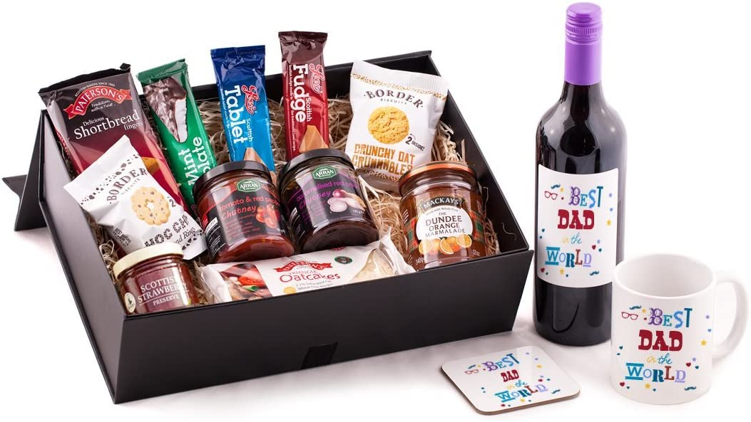 Best Dad In The World Gift Hamper Great Birthday Christmas Or Father S Day Present Idea For Your Dad From Scotland Includes Premium Red Wine And Mug And Coaster Set Best