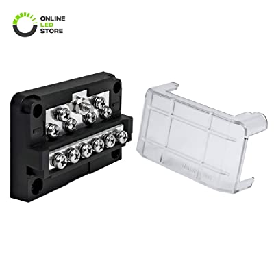 ONLINE LED STORE 12-Way Modular Ground Terminal Block [Expand with Up to 12 Fuses] [Protective Cover] [Copper Bus Bar] Distribution Block for Jeep Truck Boat Automotive: Automotive