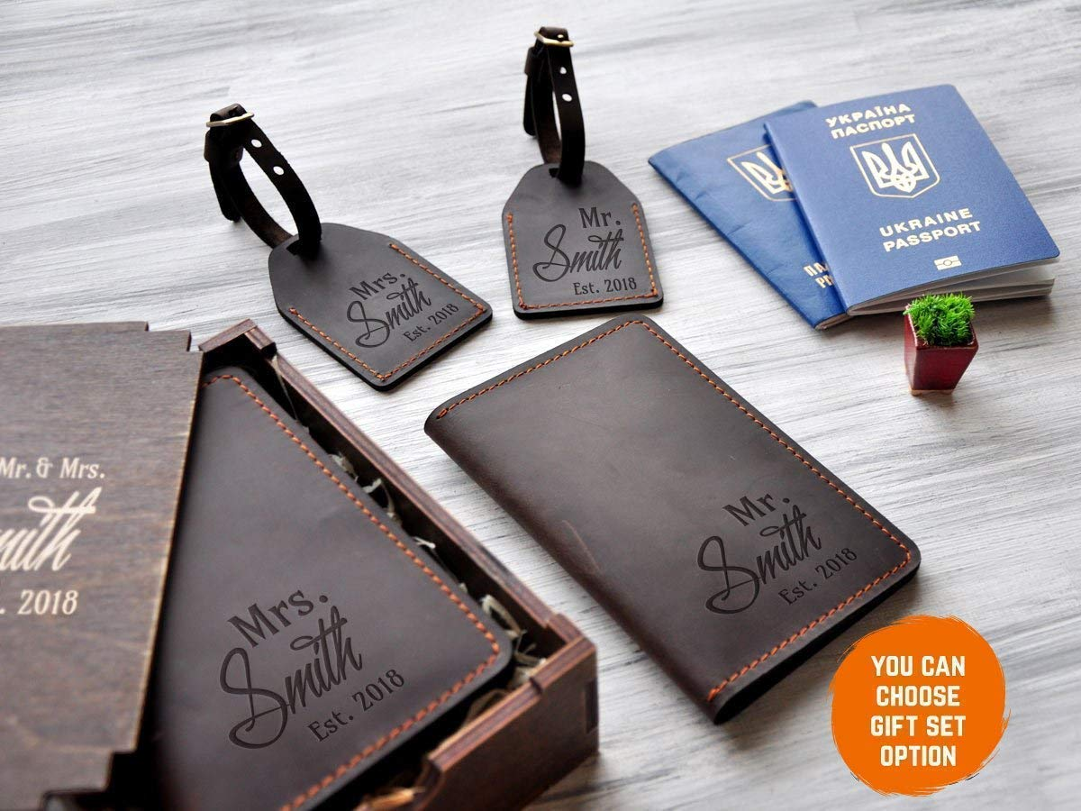 3c9a35bc8 Engagement Gift for Couple Personalized Travel Gift Set of Two Passport  Wallet Passport Cover Leather Luggage Tag Travel Wallet Mr and Mrs Gift  Anniversary ...
