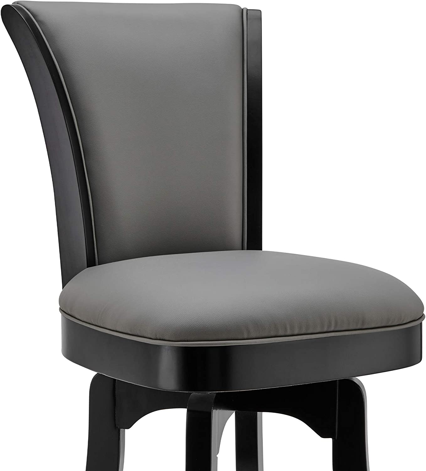 Raleigh 30 Bar Height Swivel Barstool in Black Finish and Gray Faux Leather