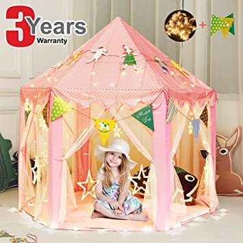 Princess Tent Kids Play Tent Teepee Girls Toys Children Castle Games House with Star String Lights  sc 1 st  Amazon.com & Amazon.com: Princess Tent Kids Play Tent Teepee Girls Toys ...