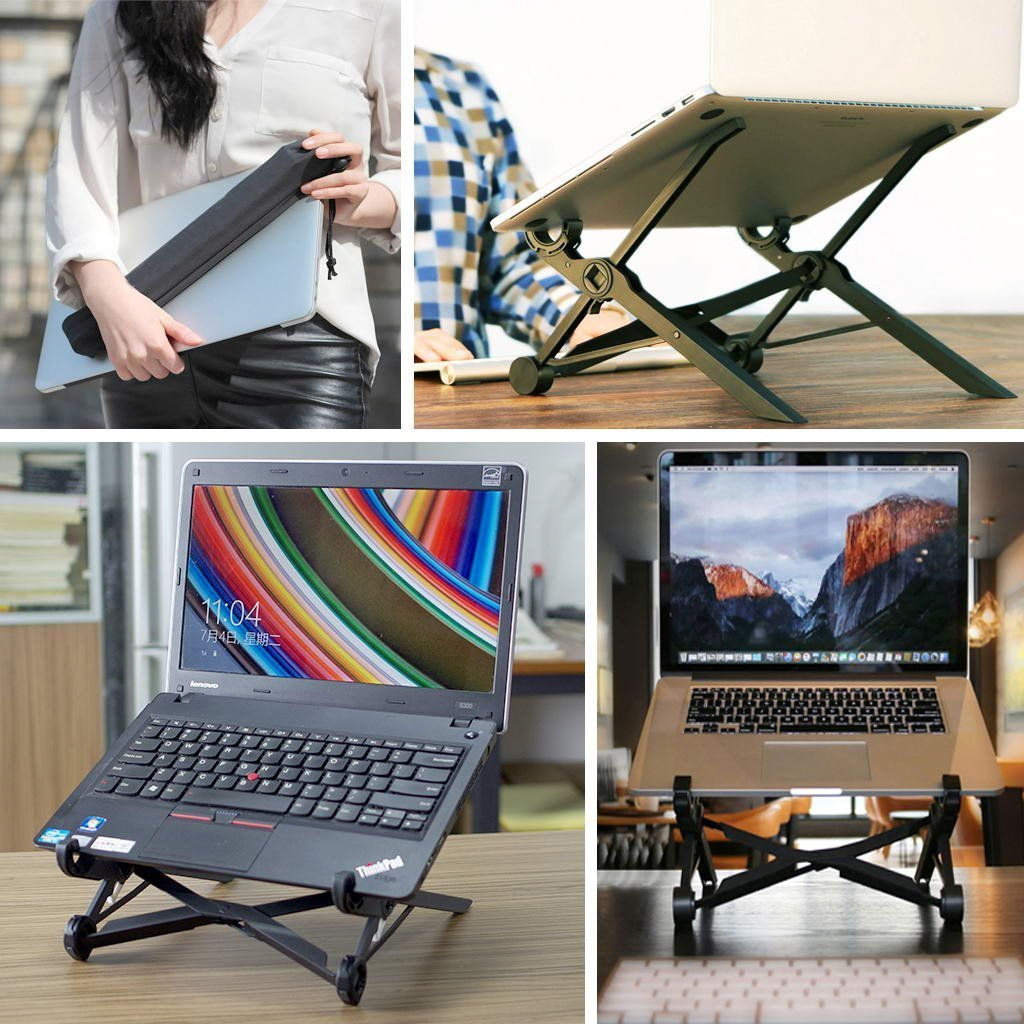 Portable Laptop Stand Foldable Adjustable Notebook HolderLaptop Stand For Desk Adjustable Portable Cooling Lightweight Compact Universal Fit for PC Macbook Computer Black
