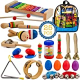 SMART WALLABY Toddler Musical Instruments Set, 25 pcs Wooden Educational Music Toys Percussion Kit for Kids with Xylophone an