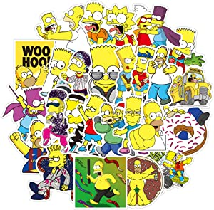 50 Pcs Cute Cartoon Anime Stickers Pack for The Simpsons, Waterproof Stickers for Laptop Water Bottle Car Bumper Skateboard Luggage Laptop Bike Guitar,Vinyl Stickers for Girls Kids Teens Boys.