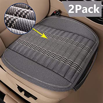 Leather Car Seat Cushion Cover Bamboo Charcoal Black Gray for Universal Car