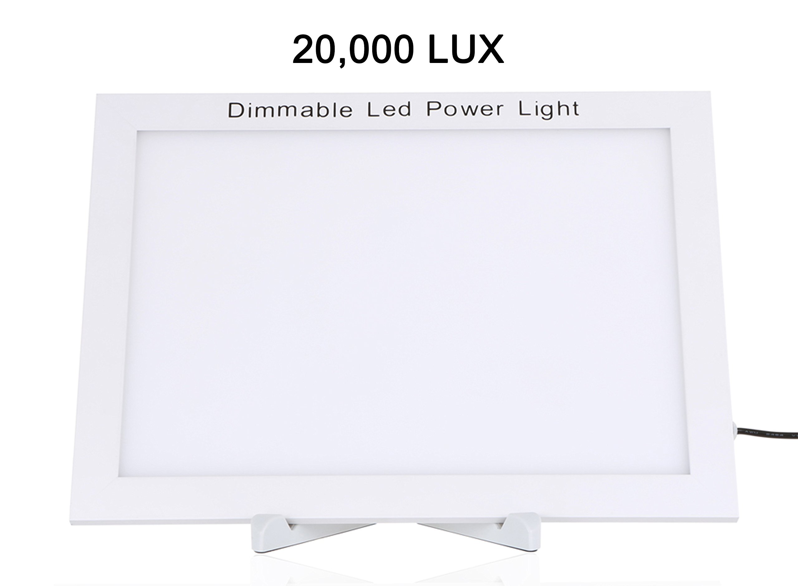 Portable 20,000 LUX Dimmable LED Bright White Full Spectrum Light Therapy Energy Daylight Lamp Therapy Light Box,Fatigue Concerntration Improve 5.5 X7.8 Inch Light Area w Simple Stand