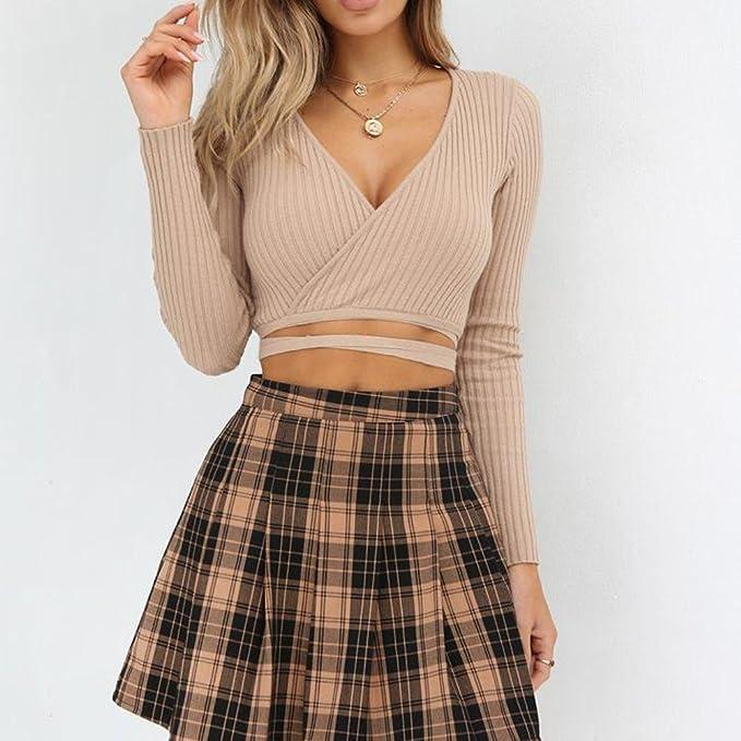Mujer y Niña otoño fashion fiesta,Sonnena ❤ Blusa de manga larga con cuello en V sexy para mujer Crop Tops de Sólido Vendaje Camisa corta de la blusa: ...