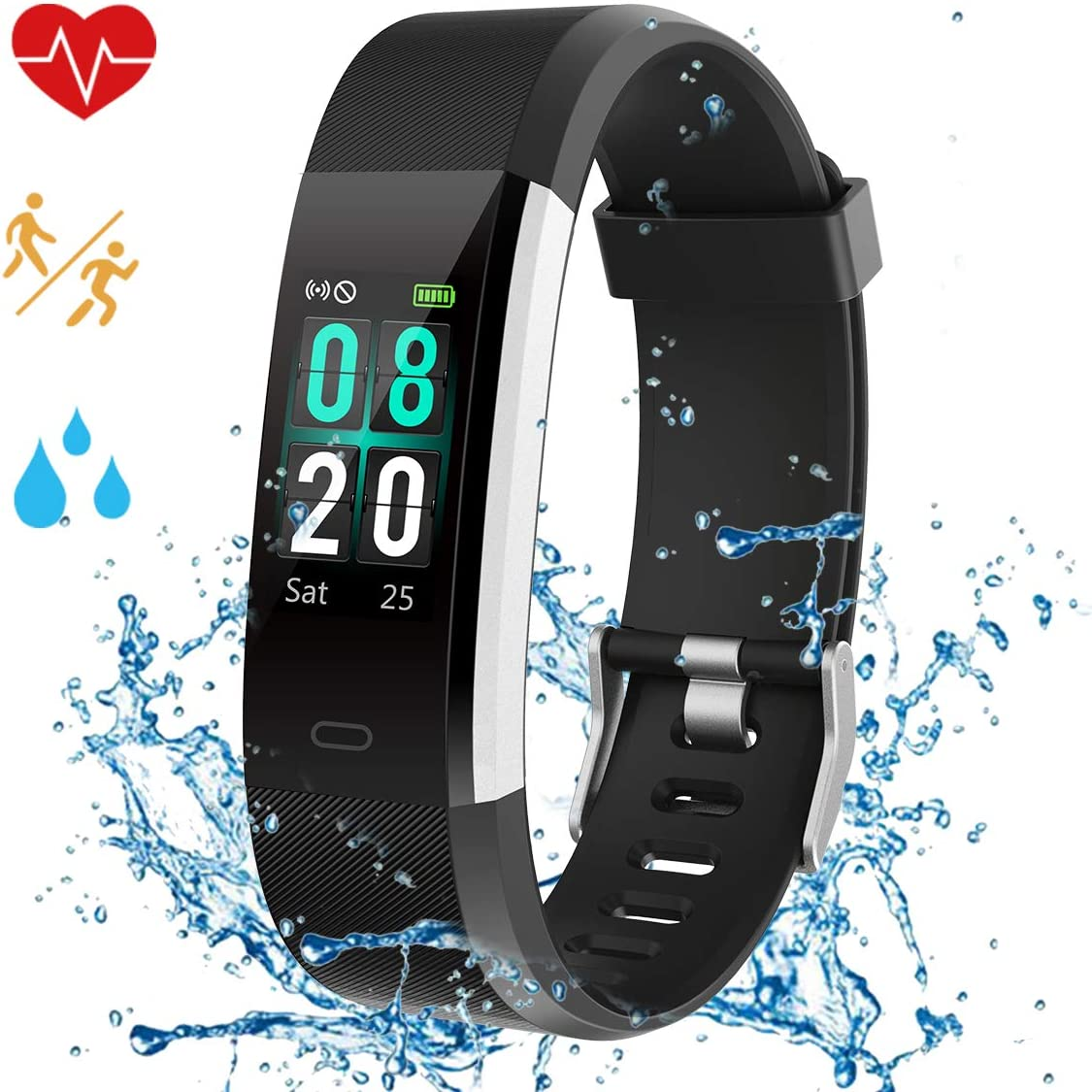 Airpro Fitness Tracker Activity Tracker Watch – Color Screen 2019 Upgraded IP68 Waterproof with Heart Rate Monitor, Step Counter, Calorie Counter, Pedometer with 14 Sports Modes for Kids Men Women