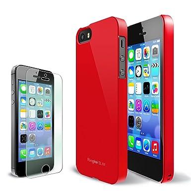 [Libre HD Film] RINGKE SLIM® iPhone 5S / 5 Funda Case Carcasa trasera [CRIMSON RED][BETTER GRIP] DEAL COMBO VALOR Conseguir GRATIS Prima HD Clear ...