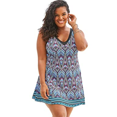 1fb8d9c1ba Swimsuits For All Women s Plus Size V-Neck Swimdress with Tummy Control -  Multi Tribal