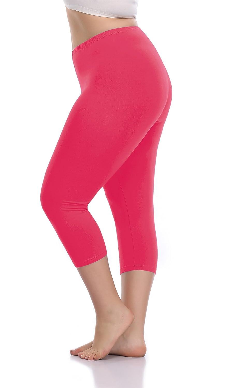 VOGUEMAX Women's Capri Leggings Plus Size Stretch Comfy High Waisted Three-Quarter Leggings Plus VM women 3/4 leggings plus