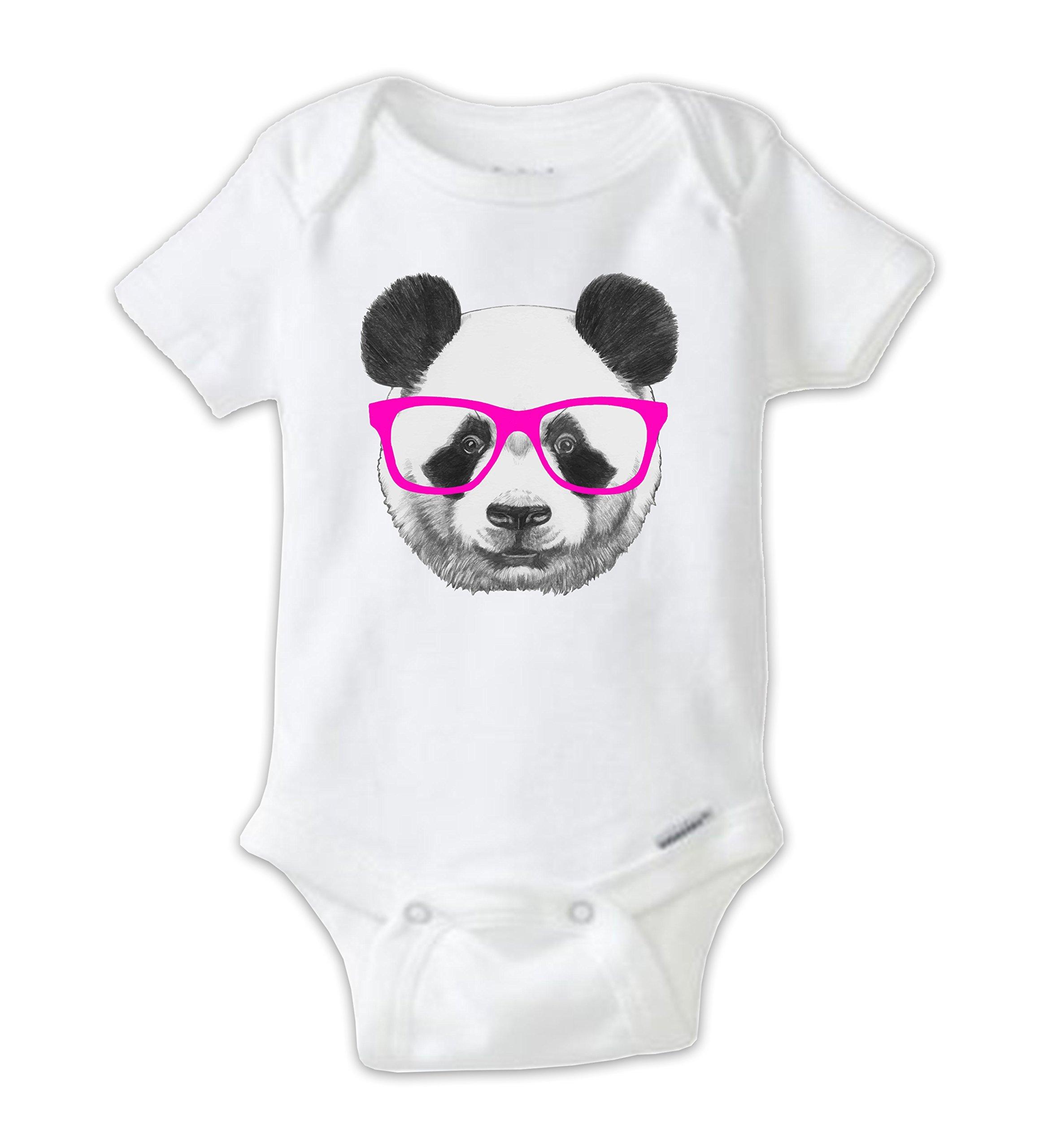 Hipster Panda Onesie, Panda Baby Bodysuit Pink Glasses (Newborn)