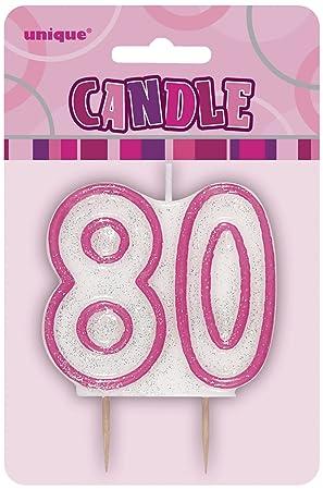 Unique Party- Vela de 80 cumpleaños, Color rosa brillante ...