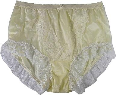 Nlh01d01 Yellow Handmade Panties Nylon Men Briefs Underwear Women Plus Lingerie Silky Undies Ladies At Amazon Women S Clothing Store