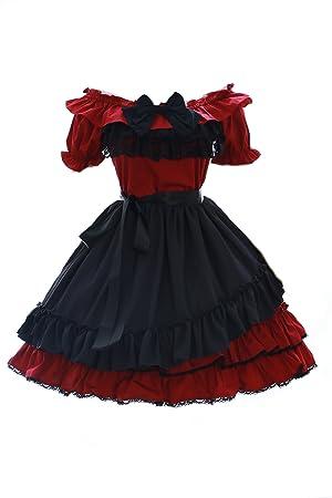 Kawaii-Story JL de 614 – 2 Rojo Oscuro Stretch Classic Gothic Lolita Vestido Disfraz