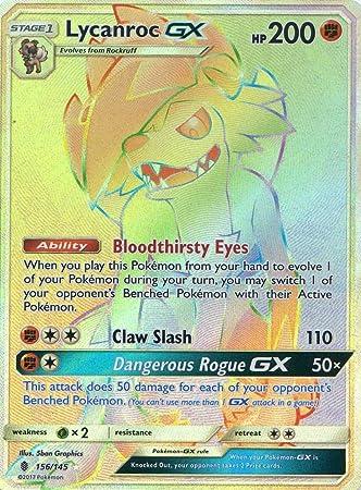 Pokemon Sun & Moon tutores Rising lycanroc GX 156/145 Hyper raras Holo tarjeta: Amazon.es: Juguetes y juegos