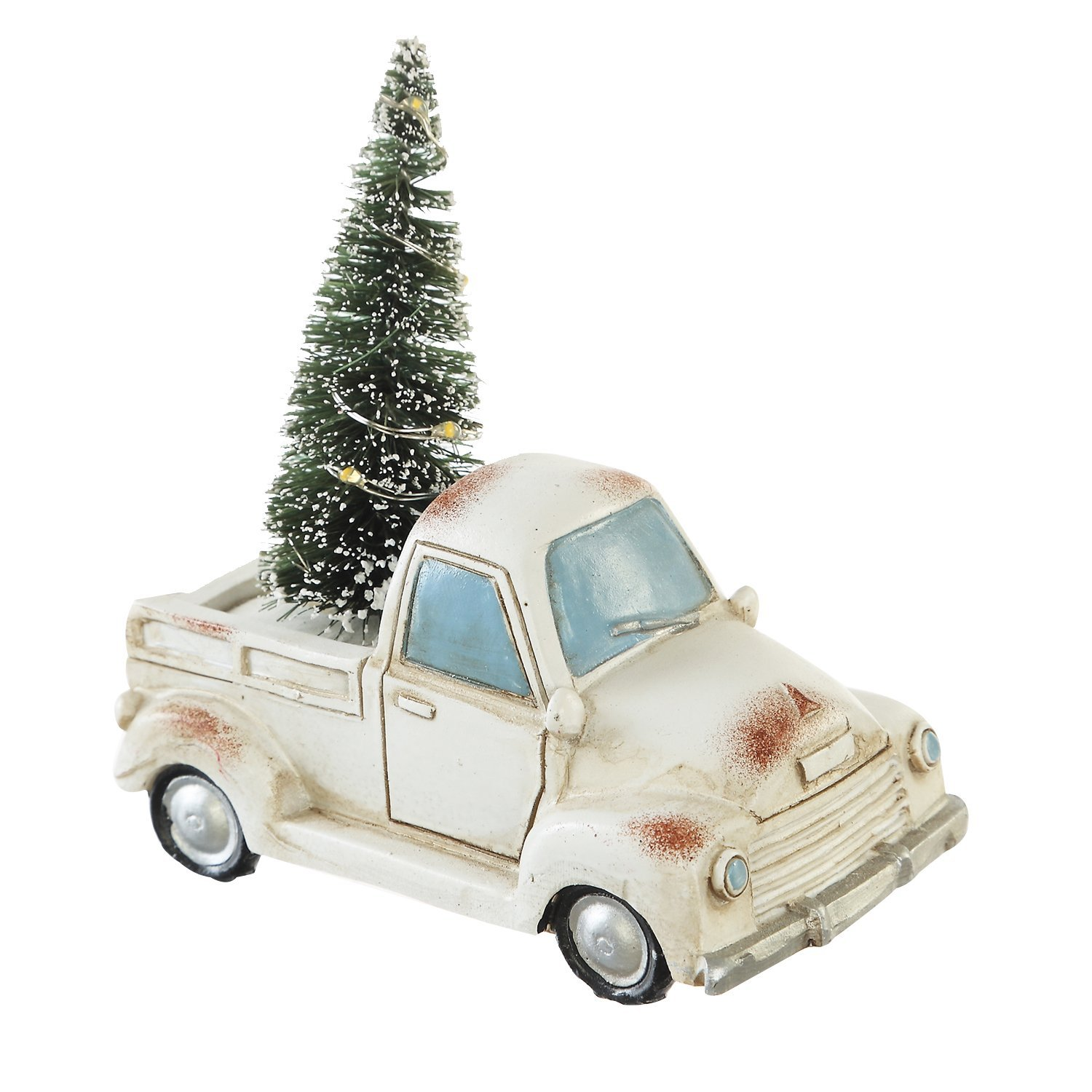 CEDAR HOME Holiday Truck with LED Light Up Tree Table Decor Miniature Home Ornaments Figurine Holiday Gift, White, 4.25'' W x 2.5'' D x 5'' H