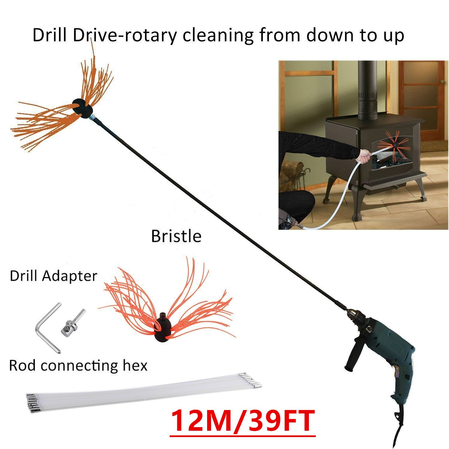ICOCO 12M/39FT Professional Chimney Pipe Sweep Cleaning Sweeping Tool Kits Drill Powered Rotary Chimney Brush DIY Set with with Nylon Flexible Rods oHholly