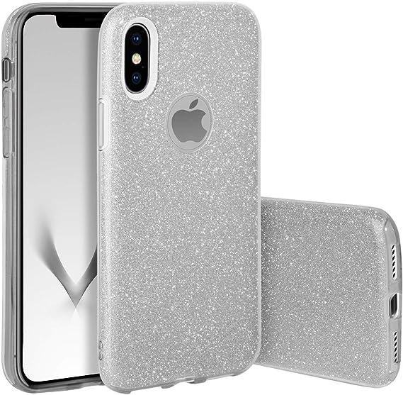 Qult Handyhülle Kompatibel Mit Iphone Xs Max Hülle Glitzer Silber Glänzend Silikon Tasche Tpu Case Bumper