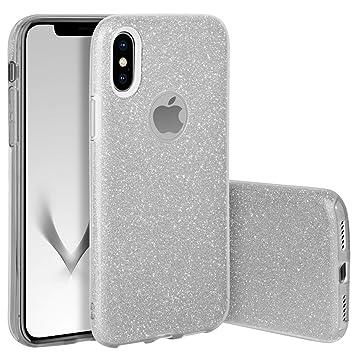 QULT Carcasa para Móvil Compatible con iPhone XS, Funda iPhone X Silicona Rosa Dura Bumper Teléfono Brillar Purpurina Silver Caso para iPhone X, XS ...