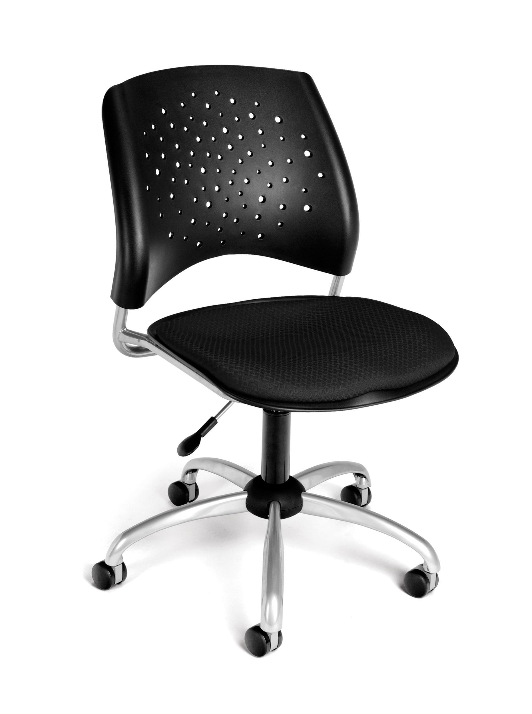 OFM Stars Series Armless Fabric Swivel Chair, Black