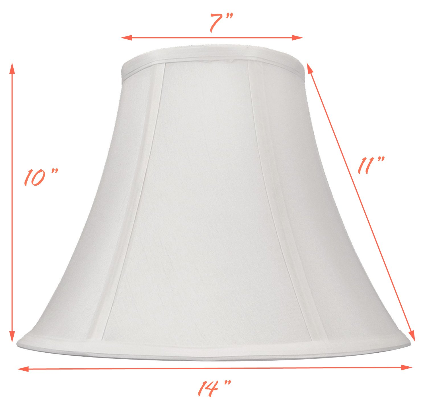 White Bell Hand Made Fabric Lampshade, 7'' x 14'' x 11'', (Spider) (Pack of 1)