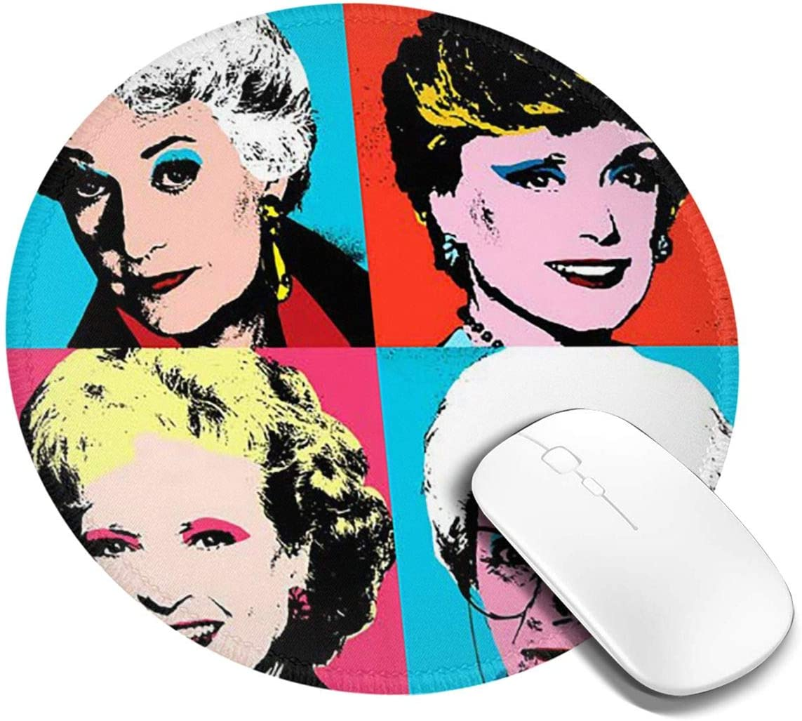Golden Warhol Rubber Round Mouse Pad 7.9x7.9 Inches Non Slip Perfect for Working and Gaming