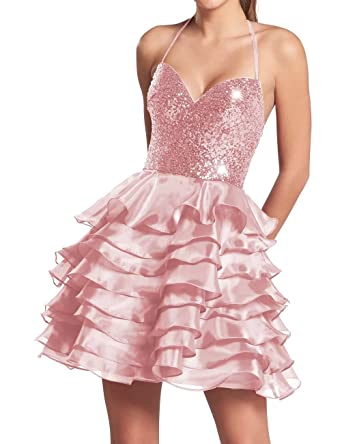 AiniDress Homecoming Dresses Short Organza Halter Sequin Cocktail Party Prom Dresses Pink Size 6