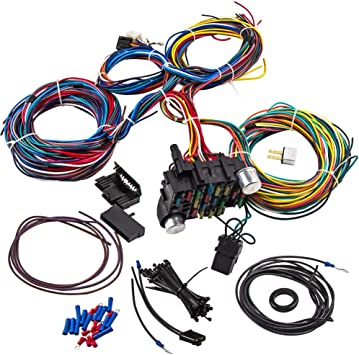amazon.com: maxpeedingrods wiring harness kit 21 circuit 17 fuses kit for  chevy mopar ford hotrod chrysler long wires standard color universal:  automotive  amazon.com