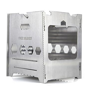 Estufa de leña Free Soldier, portátil, ligera y plegable, hombre, plata: Amazon.es: Deportes y aire libre