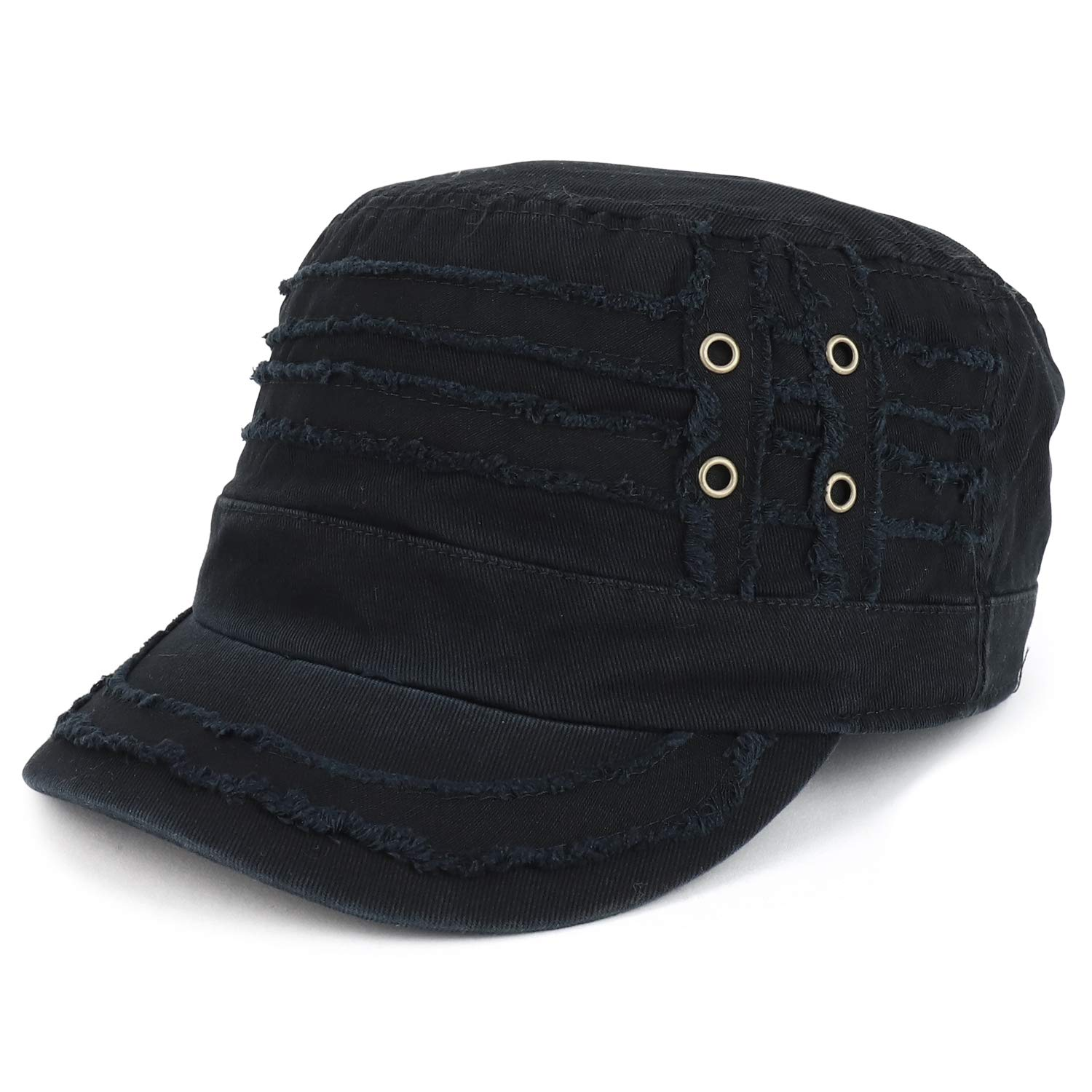 Trendy Apparel Shop Distressed Elastic Fit Frayed Cadet Jeep Style Army Cap - Black