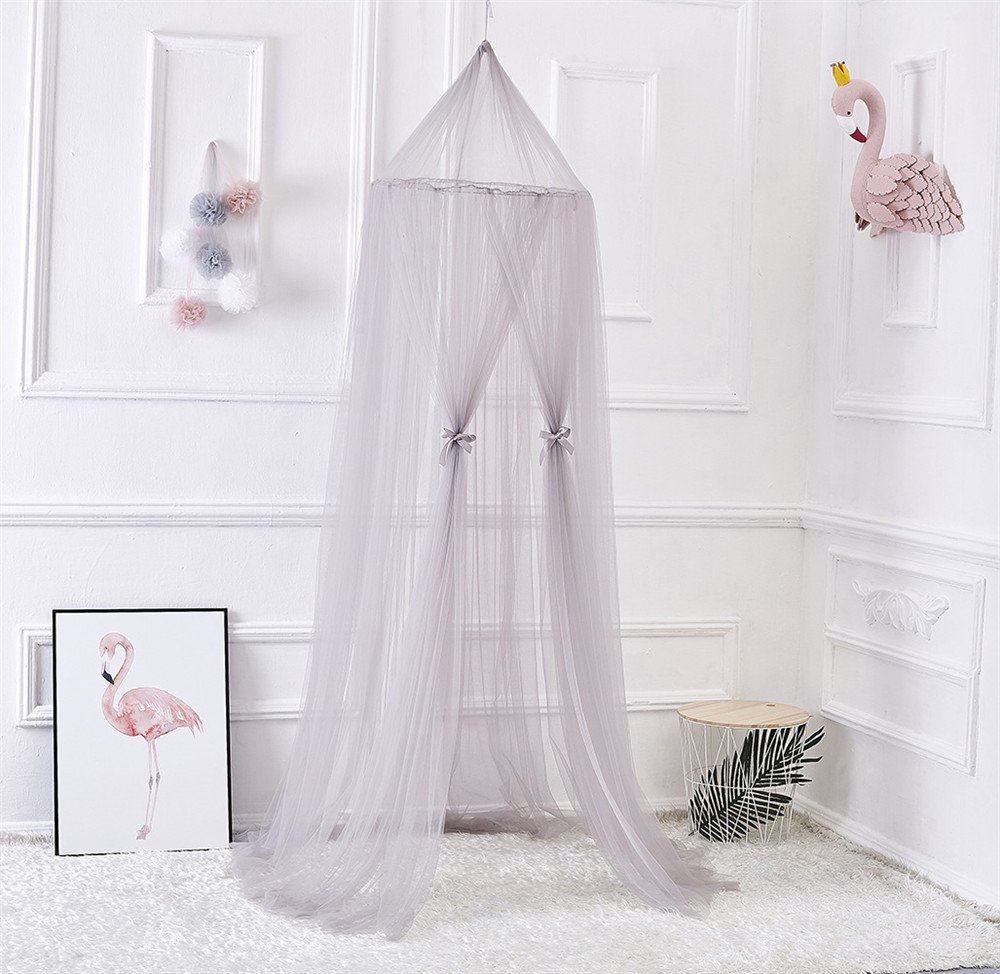 19V78 Children Mosquito Net Romantic Bedding Net Bed Canopy with Round Lace Dome Children Playing Reading canopy Tent Netting Curtains,Grey