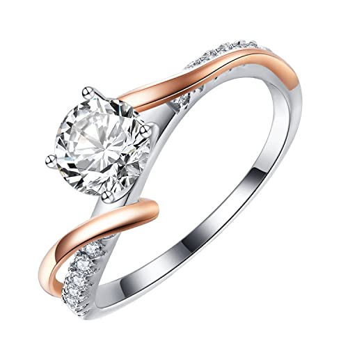 e427ed48e Caperci Sterling Silver Swirl Bypass Round CZ Cubic Zirconia Engagement  Promise Ring for Women Size 5