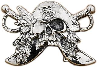 Huge Heavy 925 Sterling Silver Pirate Mens Biker Rocker Belt Buckle 9C003