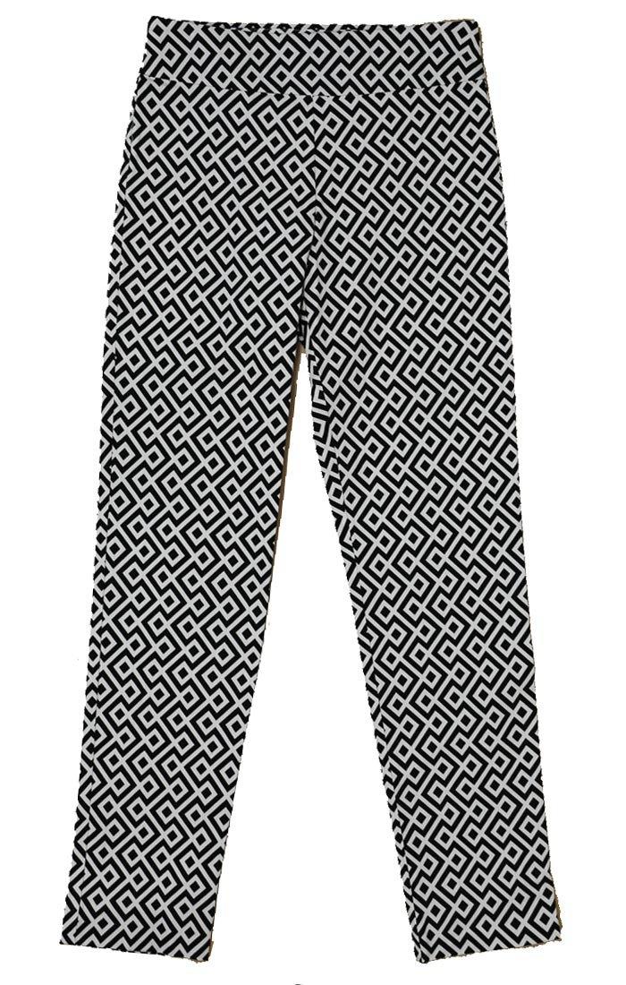 Krazy Larry Women's Geometric Print Pull On Ankle Pants (12, Black/White Geometric)