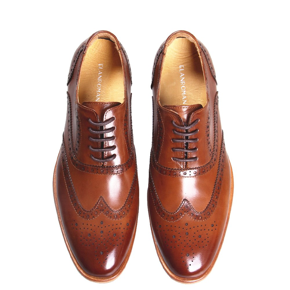 ELANROMAN Men Cap-toe Brown Leather Lining Bussiness Oxford Leather Dress Shoes for Wedding/White Collar by ELANROMAN (Image #2)