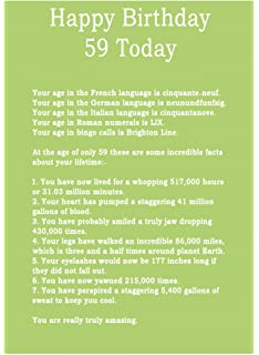 Age 59 Body Facts Birthday Card