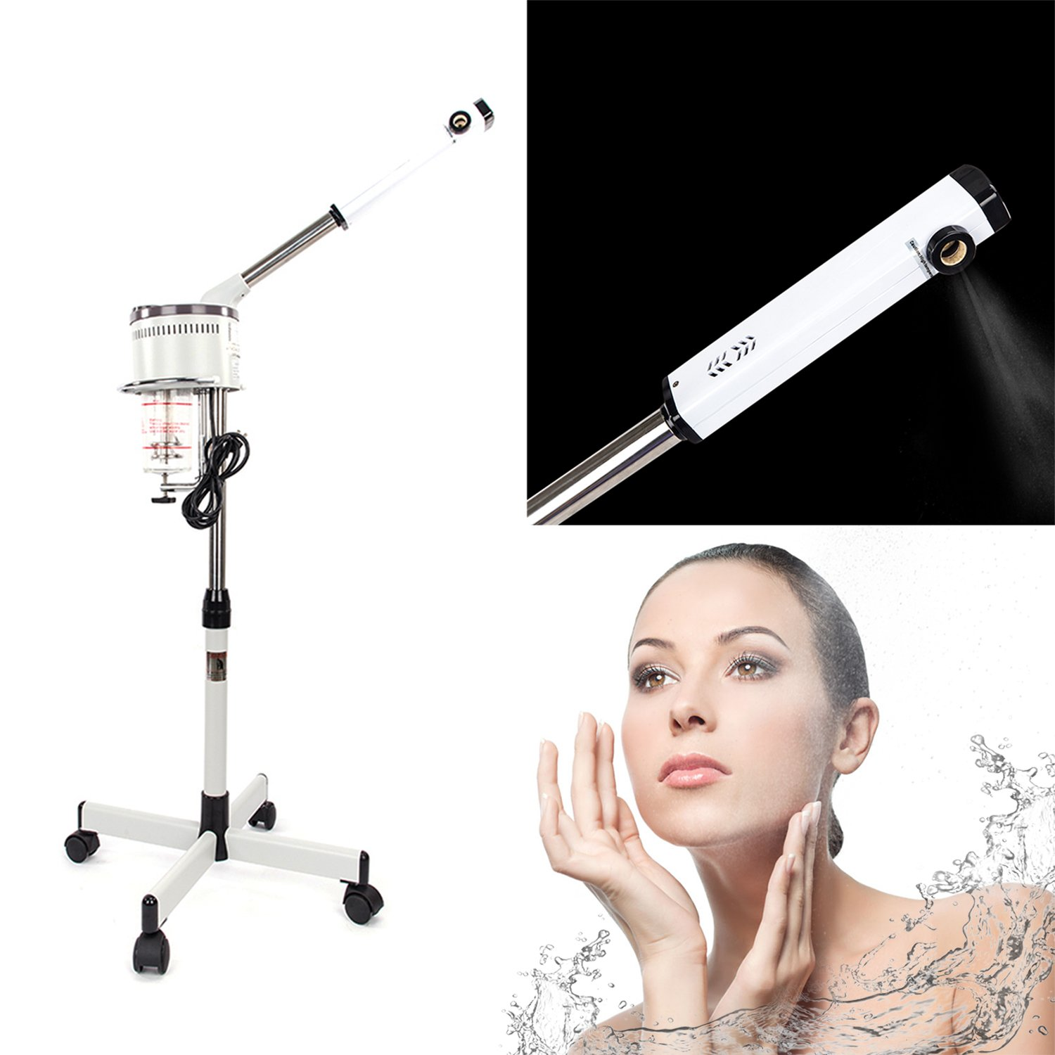 Mefeir Upgraded 650W Professional Facial Steamer Machine with Rolling Wheels,Iron Stand Base,Hot Mist Ozone Face Steamer Salon Spa Supplies Commercial Home Skin Care