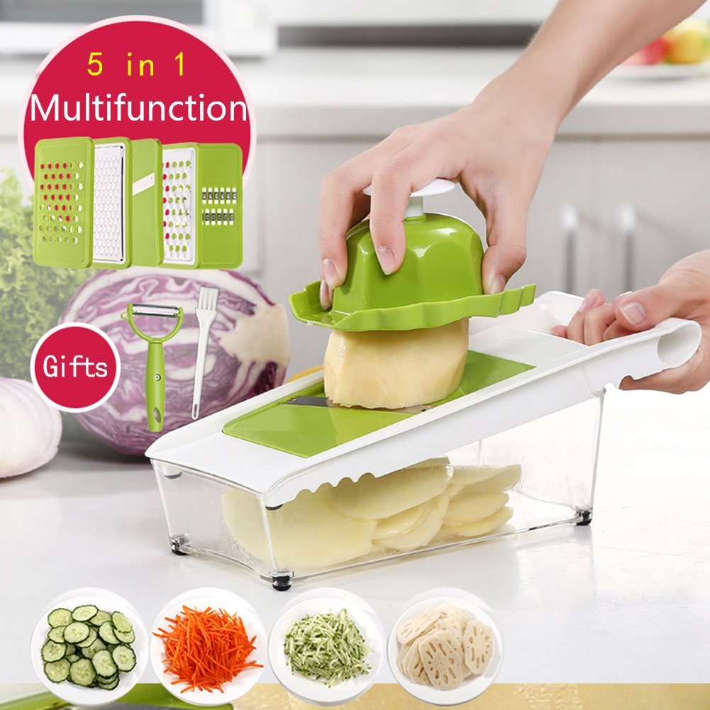 Mandoline Slicer and Dicer Kitchen Vegetable Slicer with 5 Interchangeable Stainless Steel Blades Food Fruit Julienne Slicer Cutter Chopper Dishwasher Safe