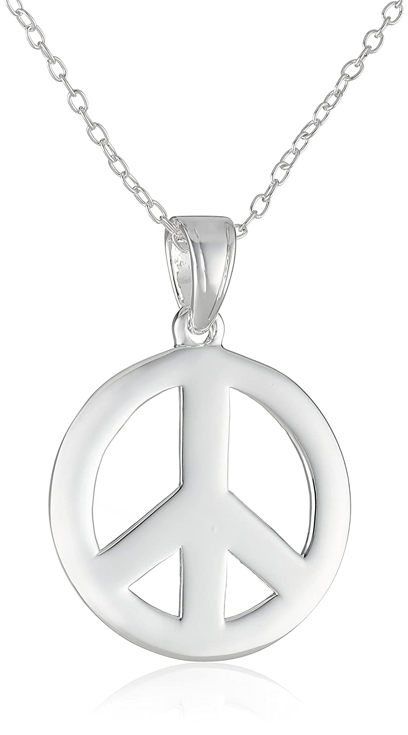 Amazon sterling silver peace sign pendant necklace peace amazon sterling silver peace sign pendant necklace peace sign in jewelry jewelry mozeypictures Choice Image