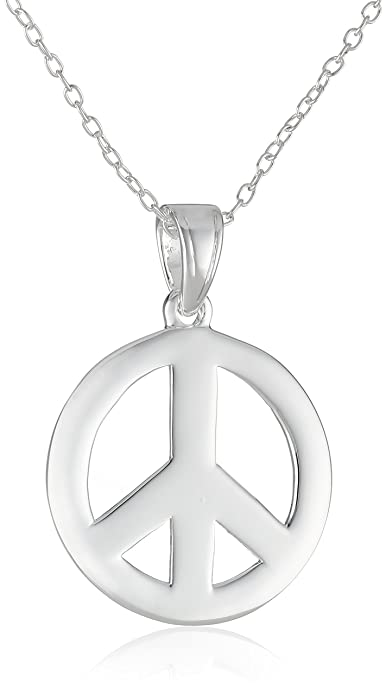 Amazon sterling silver peace sign pendant necklace peace sign sterling silver peace sign pendant necklace aloadofball Images