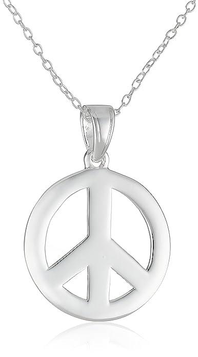 Sterling Silver Peace-Sign Pendant Necklace  Amazon.ca  Jewelry f508f5b328f0