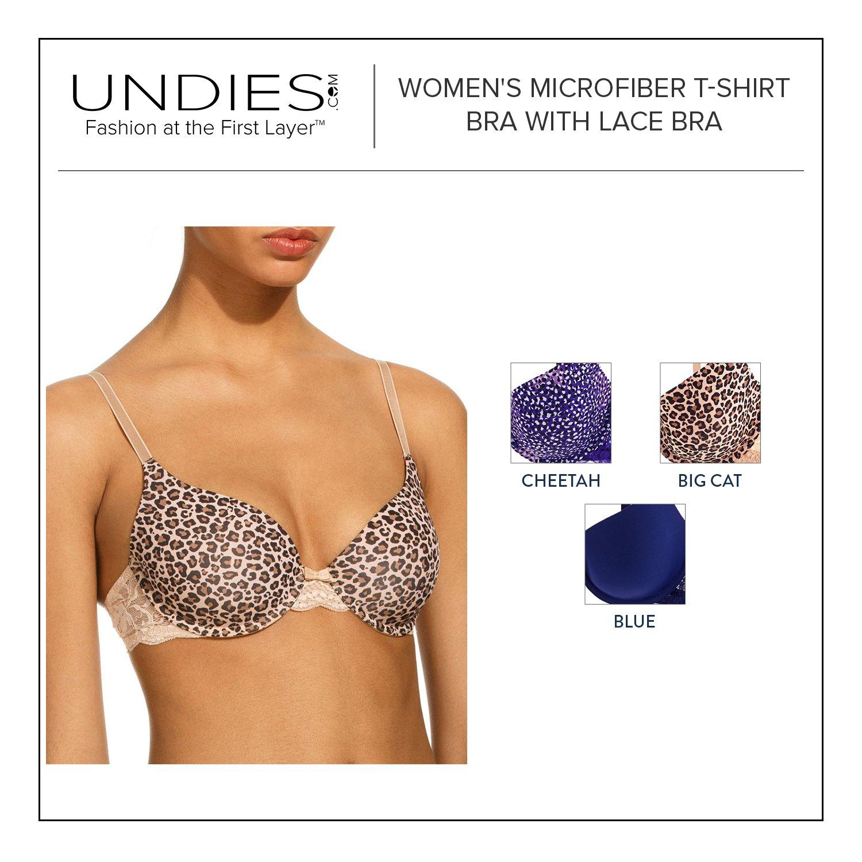 Undies.com Womens Microfiber T-shirt Bra with Lace 3 Piece Pack